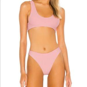 lovewave pink ribbed bikini set